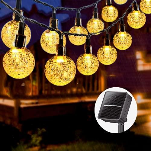 LUNSY - Catena di luci a energia solare per esterni, impermeabile, con 8 modalità, sfera di cristallo 60 LED, 9 m, per giardino, terrazza, feste, Natale, matrimoni (bianco caldo)