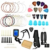 Plsucmoo 55 Pieces Acoustic Guitar Strings guitar accessories kit for beginners Include Acoustic Guitar Strings, Guitar Tuner, Capo, Picks, Guitar Strand adjust acoustic guitars.
