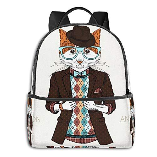 Mochilas Escolares Bolsa Daypack Mochila Tipo Casual para Nios Nias para Porttiles Netbooks Animal Gato Disfrazado de Hipster