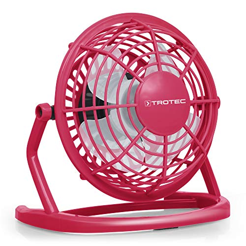 TROTEC TVE 1P Mini USB Ventilator/Fan/Lüfter Raspberry Pink, geräuscharm mit An/Aus-Schalter, 360° Neigungswinkel