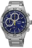 SEIKO SSB185P1,Men's Chronograph,Stainless Steel Case & Bracelet,Blue Dial,100m WR,SSB185