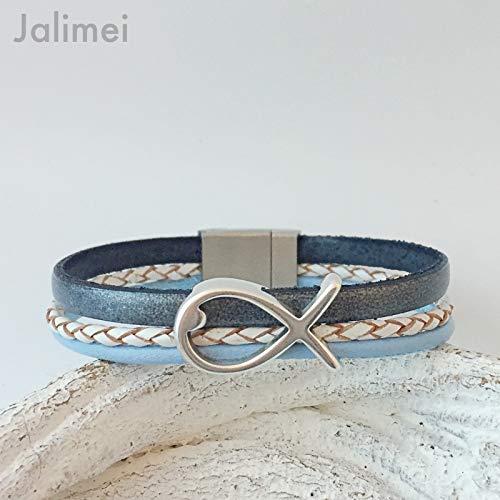 Armband Leder mit Fisch grau hellblau weiß, Konfirmation, Magnetverschluß, handmade by Jalimei