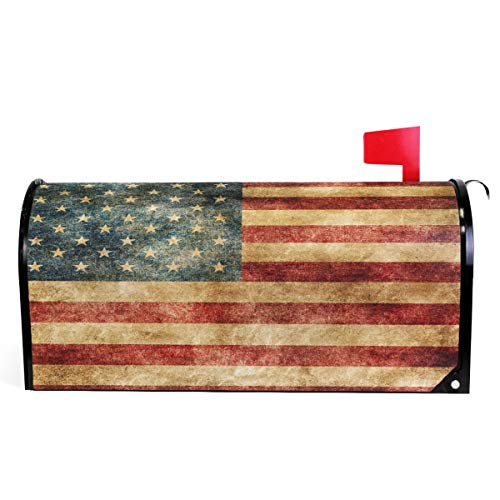Wamika Vintage American Flag US Stars and Red Stripe Mailbox Covers Standard Size Patriotic American Star Stripe Magnetic Mail Cover Letter Post Box 21