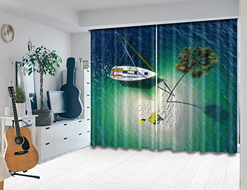 Nonebranded Bedroom Blackout Curtains Window Darkening Panel For Kitchen | Living Room | Boy Room - Yacht Sea Water Plantsh215 X W200 Cm