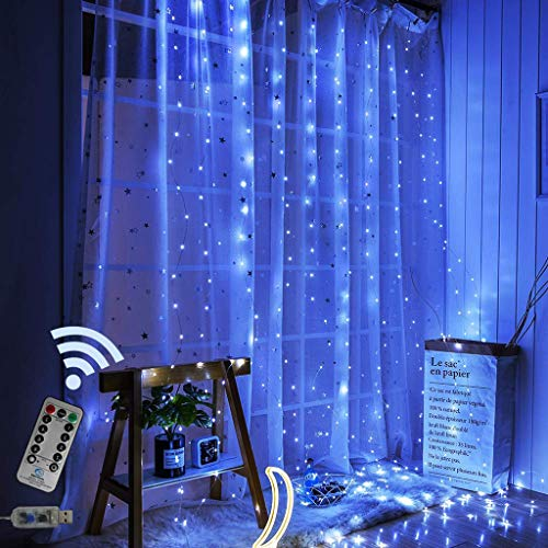 USB Led Lights Strips for Bedroom String Fairy Light Curtain, Waterproof 300 LED Window Copper Wire Lights Wedding Party Home Garden Bedroom Outdoor Indoor Wall Decorations 9.8Ftx9.8Ft (Blue Color)