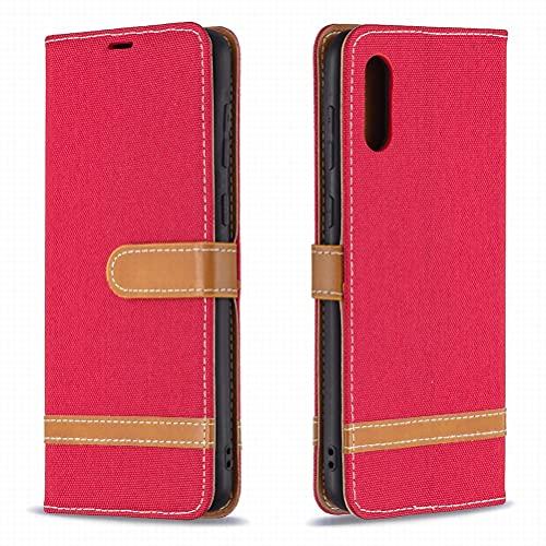Yiizy Funda para Samsung Galaxy A02, Carcasa Galaxy A02 Funda de Cuero con Tapa, Fundas Cartucheras para Tarjeteros de Crédito, Cierre Magnético Silicona Protector Estuche Samsung Galaxy A02 (Rojo)