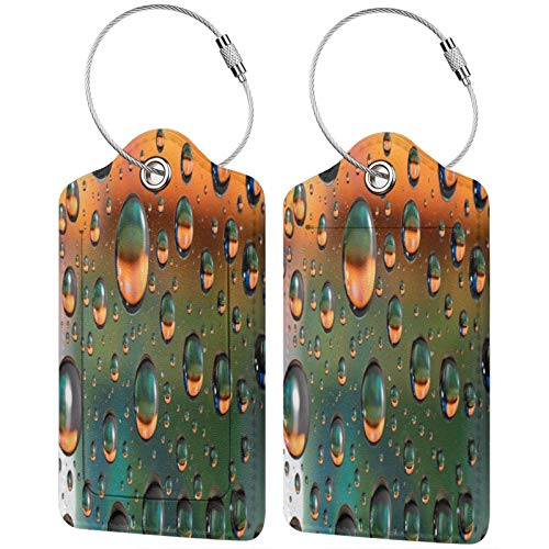 2 Pack FULIYA High-end Leather Luggage Tags for Suitcases - Travel ID Identifier Labels Set for Bags & Baggage - Men & Woman,Bubbles, Macro, Liquid, Texture