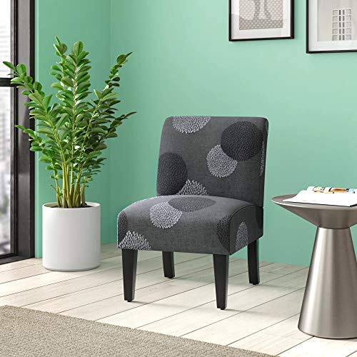 BELLEZE Curved Back Accent Slipper Chair Living Room Bedroom Upholstered Antique, Charcoal Sunflower