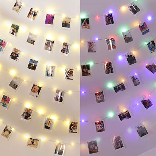 Innotree Photo Pegs String Lights Battery & USB Powered, 100 LED 10M Copper Wire Fairy Lights with 50 Clips for Hanging Pictures Frames Indoor Bedroom Wedding Wall Christmas Decoration