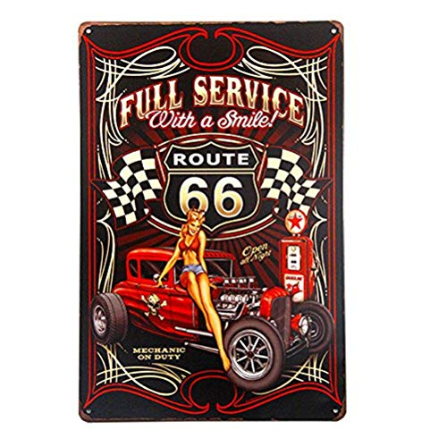 INNAPER Full Service Hot Rod Route 66 Die Cut Metal Sign pin up Girls with Smile Vintage Garage Wall Art (M0033)