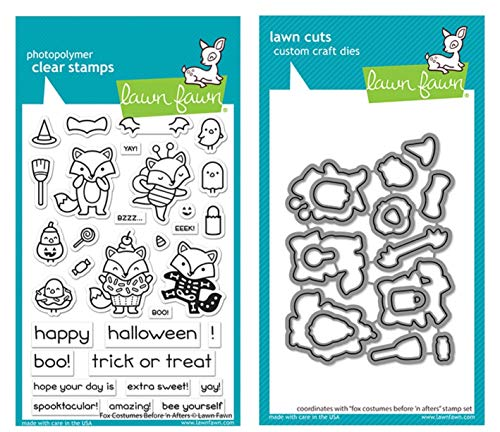 Lawn Fawn Fox Costumes Before n Afters 4x6 Clear Stamps and Coordinating Dies (LF2402, LF2403), Bundle of 2 Items