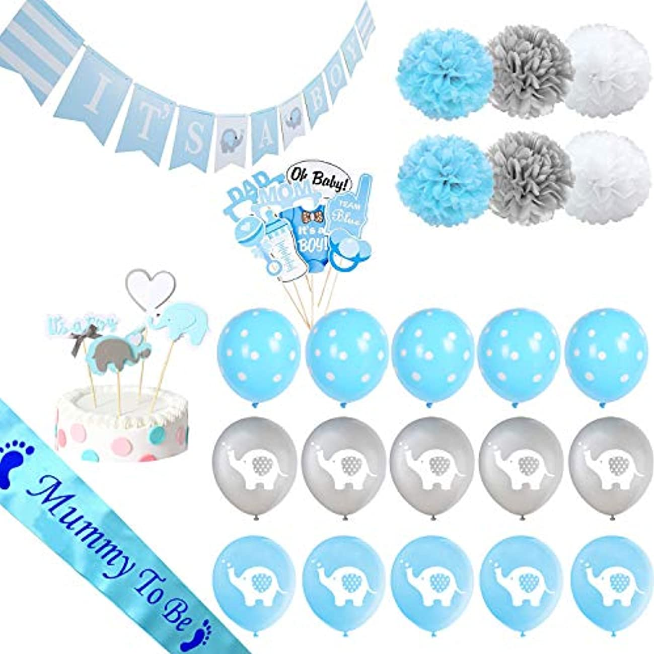 Haimimall Baby Shower Decorations for Boy It's A BOY Banner Elephant style, Balloons, Mummy To Be Sash, Baby Shower Photo Booth Props, Cake Topper, Pom Poms