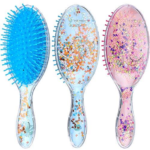 2 Pieces Kids Wet Hair Brush Confetti Glitter Detangler Hair Brush Set Soft Bristles Massage Brush for Baby Kids Girls Curly Straight Long Short Hair Dinosaur