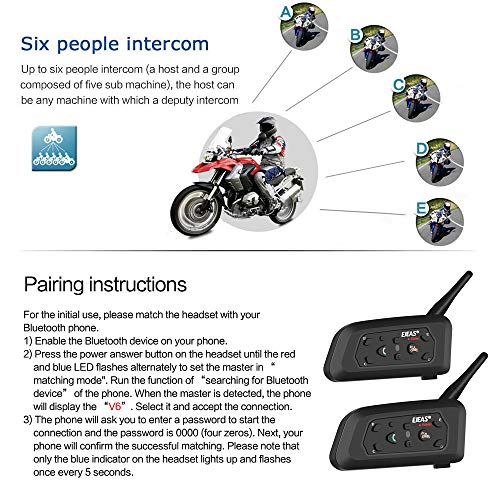 EJEAS V6 Pro 1200M Impermeabile Interfono Moto, Moto Auricolare Bluetooth con Cancellazione del Rumore, Comunicazione Bluetooth per Casco Moto con Fino a 6 Riders (2 Pezzo)