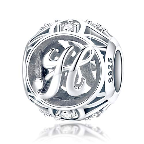 FOREVER QUEEN Alphabet Buchstabe H Charm Bead mit klaren Zirkonia kompatibel für europäische Armbänder 925 Silber Sterling Charm Anhänger,BJ09121-H