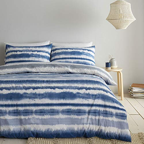 Catherine Lansfield Tie Dye Seersucker Double Duvet Set, Blue