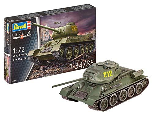 Revell 03302 12 Spielzeug Modellbausatz T-34/85 im Maßstab 1:72, Level 4, Non