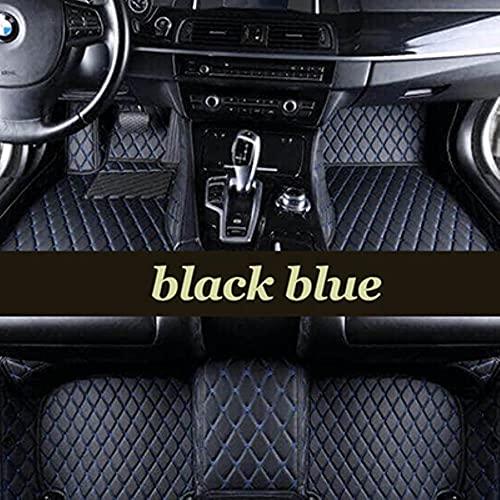 Tapis De Sol Voiture pour Peugeot 3008 GT Line 2018 Tout Temps en Cuir Imperméables Tapis De Voiture Accessoires-Noir Biue