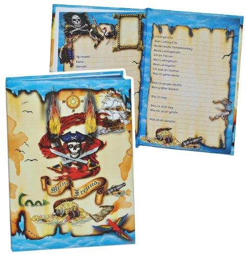 Meine Freunde Buch - Pirat für Jungen - dick gebunden für Schulfreunde Poesie A5 Hardcover - Freundebuch Poesiealbum Kinder Schule