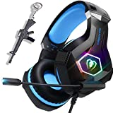 RGB LED Gaming Headset for PC, Xbox One, PS4, Ultralight Over-Ear Headphones with Noise Cancelling MIC, Stereo Surround Sound Earphones, Gift idea for Kids, boy, Teen, Gamer
