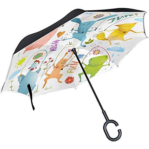 Mike-Shop Inverted Umbrella Cars Reverse Umbrella Springseil Hund Frosch Hase Schwein Henne Fuchs Winddicht UV Proof Travel Outdoor Umbrella