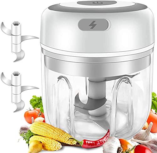 FOKRIM USB Electric Mini Garlic Chopper Mixer, Portable Cordless Grinder Small Food Processor for Onion, Ginger, Pepper, Nuts, Meat Mini Food Crusher, Random Colour (250ML CHOPPER)