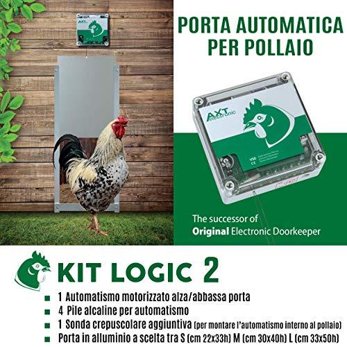 Porta Automatica crepuscolare per pollaio Kit Logic 2 (Alluminio, Porta Misura L cm 33x50h)
