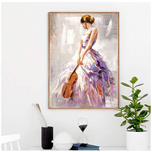 NIESHUIJING Kunstdruck auf Leinwand, Motiv Ballett Dance Girl Portrait Gemälde auf Leinwand Schilder und Drucke Modern