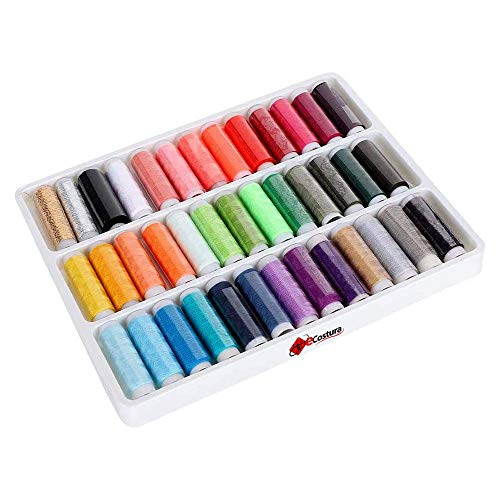 eCostura® 39 Hilos de Coser para máquina, Poliéster 100% Resistente para Costura, Caja de bobinas de Hilo [Thread Box], para Coser a máquina, acolchar y Bordar, Colores Surtidos, Kit de Costura
