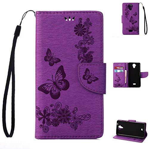 95Street Wiko U Feel Lite Handyhülle Book Case Wiko U Feel Lite Hülle Klapphülle Tasche im Retro Wallet Design mit Praktischer Aufstellfunktion - Etui Lila