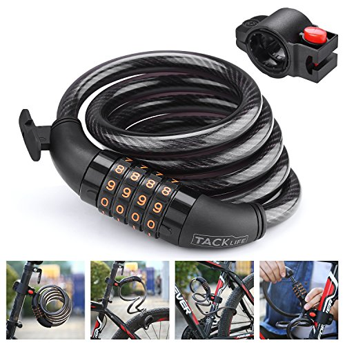TACKLIFE Bike Lock, HCL1C 4-Feet Resettable Combination Bike Cable Self Coiling Bicycle Cable Locks with Complimentary Mounting Bracket, 4 Feet x 1/2 Inch