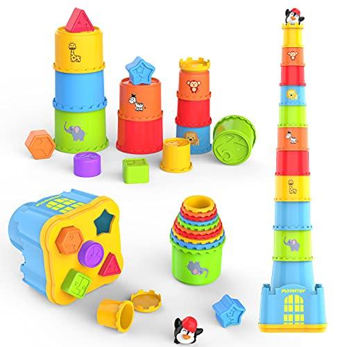 MOONTOY Cubos Apilables Bebés 12 Meses +,Juguete de Taza Apilable 19PCS,Montessori Juguetes para niños y niñas,Juguete de Playa y baño para bebés...