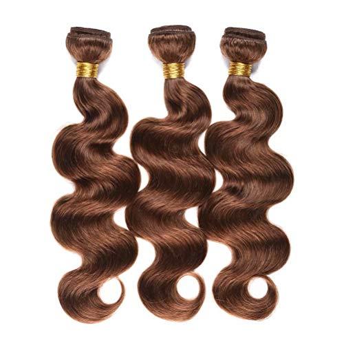 FEEL ME Brazilian Virgin Hair Body Wave 3 Bundles(14 16 18) Unprocessed Human Hair Weave Bundles 8A Mink Brazilian Hair Weave Bundles Color 4 Light Brown Hair Bundles Extensions