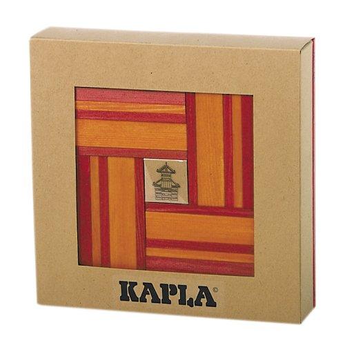 KAPLA 40 Steine, rot und orange + Buch