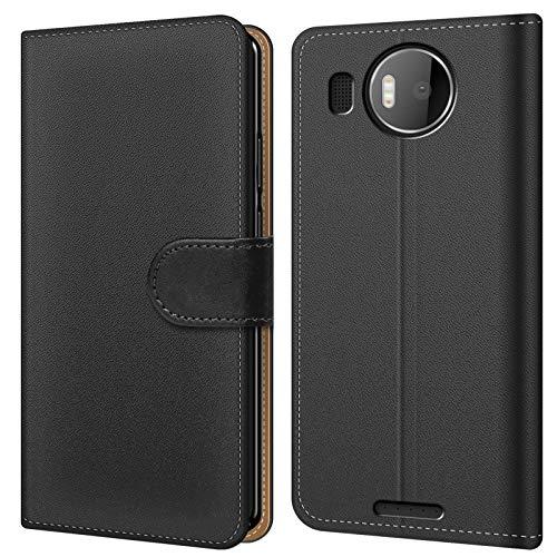Conie BW20467 Basic Wallet Kompatibel mit Microsoft Lumia 950 XL, Booklet PU Leder Hülle Tasche mit Kartenfächer und Aufstellfunktion für Lumia 950 XL Case Schwarz
