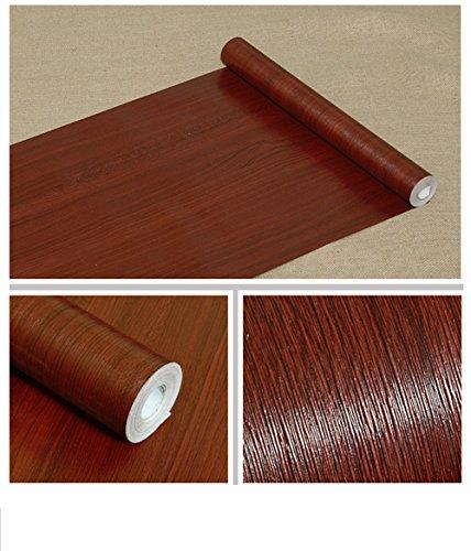 Revestimiento autoadhesivo de papel de contacto de grano de madera para estantes de encimera, armarios de cocina, pared, mesa, puerta, escritorio (caoba 45 cm de ancho x 994 cm de largo)