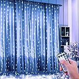 DOOK LED USB Lichtervorhang 3m x 3m, 300 LEDs Lichterkettenvorhang mit 8 Modi Lichterkette Gardine für Partydekoration Schlafzimmer Innenbeleuchtung Weihnachten Deko,Weiß
