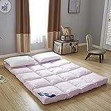 MHCYKJ Feather Mattress Single Double Tatami Mattresses Foldable Futon Floor Mat Cotton Sleep Mattress for Travel Camping Hotel Boys Girl (Color : Pink, Size : 200x220cm/79x87inch)