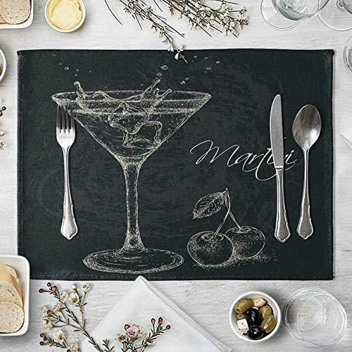 HIUYOO Set de Table Lot de 4 Set de Table Lin Lavé 40x30cm Cocktail et Cerise Blanc Noir