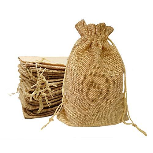 Ealicere 30 Piezas 9.5 * 14.5CM Bolsas de Yute, Bolsas de arpillera con cordón, Bolsas de Yute para la Fiesta de la casa de la Boda DIY Party Favor