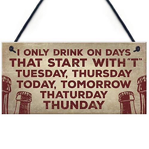 qidushop Holzschild zum Aufhängen, für Zuhause, Bar, Kneipen, Geschenke, Bier, Wodka, Gin, Cider, Geschenke, Schlafzimmerschild mit Sprüchen