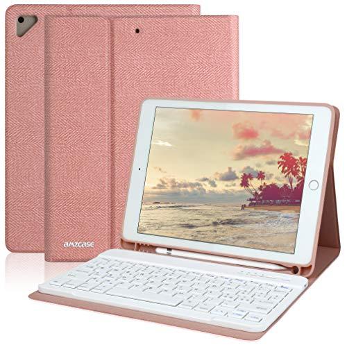 Custodia con tastiera per iPad 9.7 per iPad 6a generazione 2018 iPad 5a generazione 2017 iPad Pro 9.7 iPad Air 2/1 con Bluetooth 9.7 Tastiera rimovibile wireless Cover per iPad-Portapenne(Champagne)
