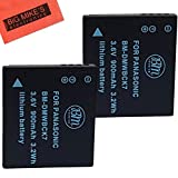 Pack of 2 DMW-BCK7 Batteries for Panasonic Lumix DMC-FH25, FH27, FP5, FP7, FS16, FS18, FS22, FS35, FS37, DMC-S1, DMC-S2, DMC-S3, DMC-SZ1, DMC-SZ5, DMC-SZ7, DMC-TS20, DMC-TS25, DMC-TS30 Digital Camera