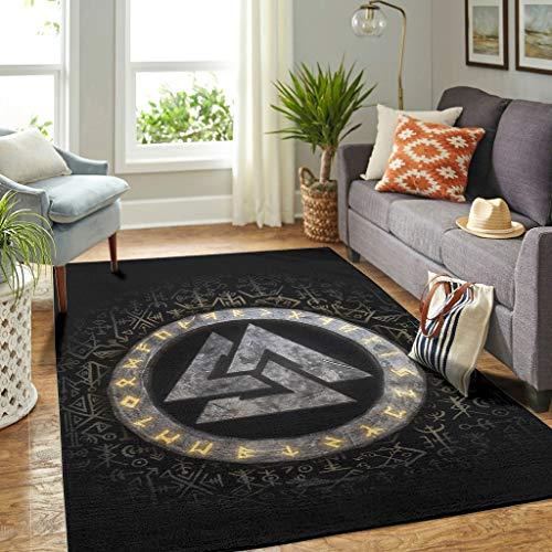 Veryday Wikinger Runen Teppich Luxury Wohnzimmerteppich als Türmatte Eingangsmatte für Schlafzimmer Flur White 122x183cm