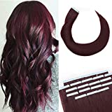22 Inch 100g Tape in Hair Extensions Remy Human Hair 40pcs/pack #99J Wine Red Human Hair Seamless Skin Weft Glue in Hairpieces with Invisible Double Sided Tapes