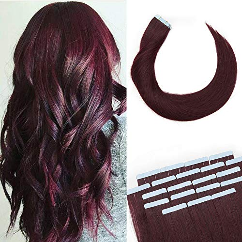 16 Inch 40pcs 100g Remy Tape in Hair Extensions Human Hair 99J Wine Red Straight Hair Seamless Skin Weft Invisible Double Sided Tape Burgundy …