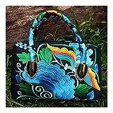 QFWN Bolsa de Nueva Bordado de la Manera de Las Mujeres! Todo-fósforo de Flores Hechas a Mano Embroideried Hombro y Bolsos Multi-Uso Bolso for Damas (Color : Red, Size : (30cm(MAX Length(50cm))