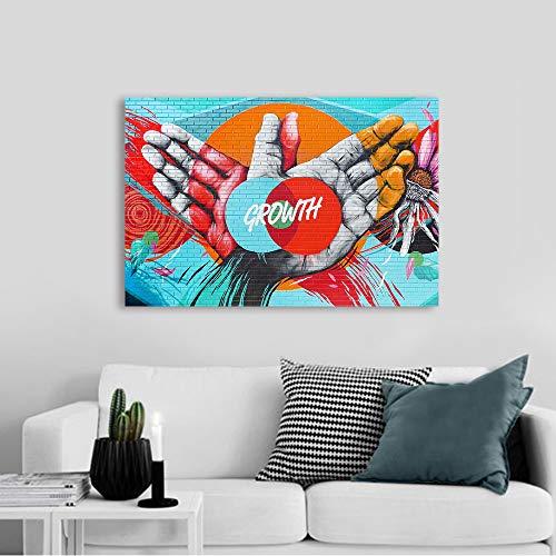 SDFSD Garabatos creativos con alas Que crecenWall Art Painting Canvas Print Graffiti Picture for Living Room The Hands Growth Home Decor Sin Marco 55x95cm