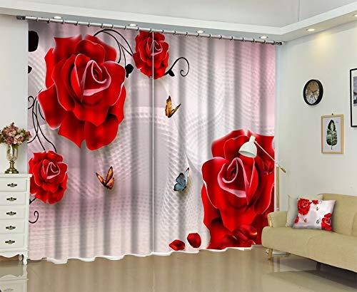AmDxD 2 paneles de tela de poliéster para cortinas de cocina, rosas rojas y mariposas, lavable a máquina, color blanco rosa, 201 cm de ancho x 54 cm de alto