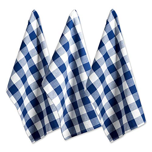DII Cotton Buffalo Check Plaid Dish Towels, (20x30', Set of 3) Monogrammable Oversized Kitchen Towels for Drying, Cleaning, Cooking, & Baking - Navy & Cream